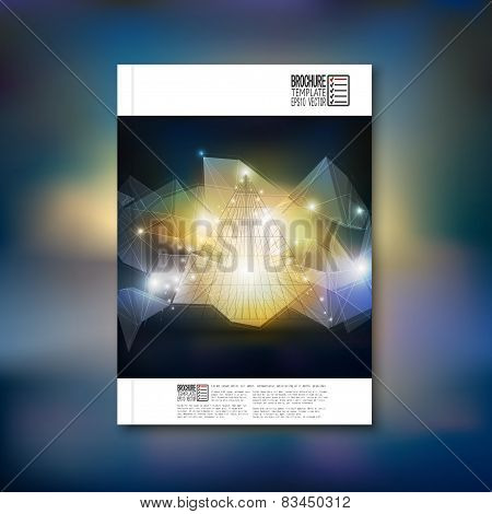 Abstract 3D pyramid, geometric colorful triangle design. Brochure, flyer or report for business, tem