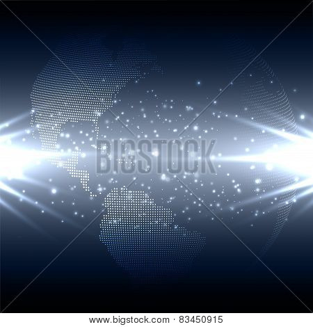 Abstract technology background with world globe, dark design vector illustration