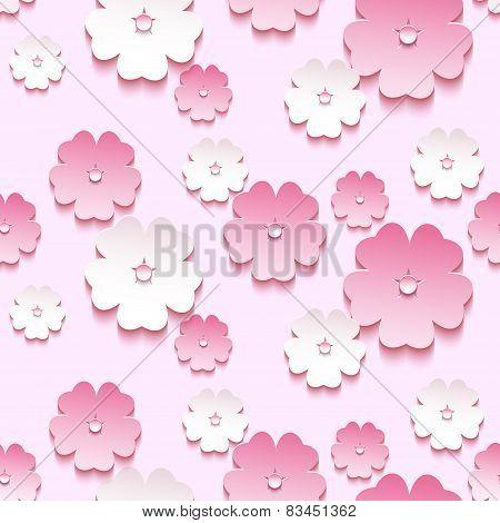 Beautiful Background Seamless Pattern, 3D Sakura Blossom