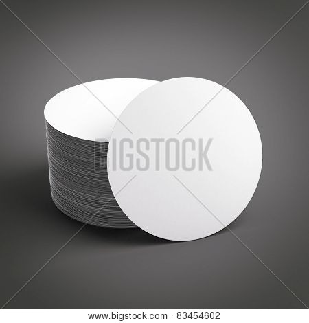 Stack of blank beer coasters