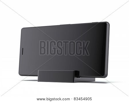 Phone on black Charging Stand