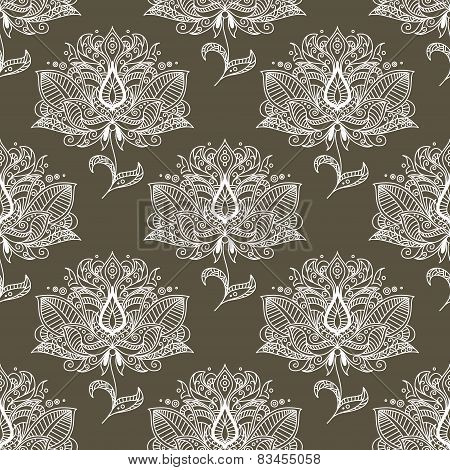 White paisley seamless pattern