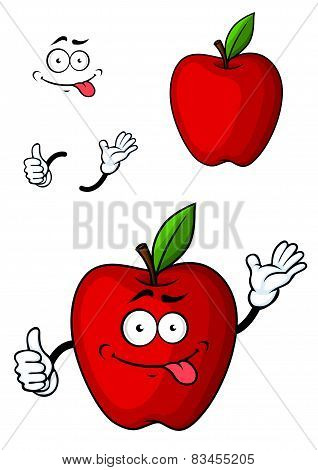 Cartooned red apple fruit character