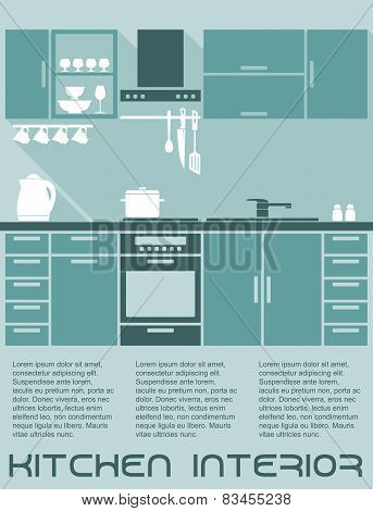 Kitchen flat interior design template