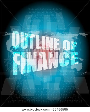 Outline Of Finance Words On Digital Touch Screen Interface
