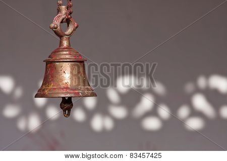 Traditional Buddhist Bell In Nepali Temple