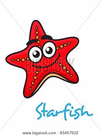 Cartoon red star fish with happy face