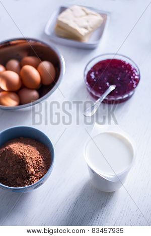 Ingredients And Tools To Make A Cake