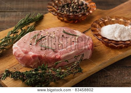 Raw Pork Steak With Spices