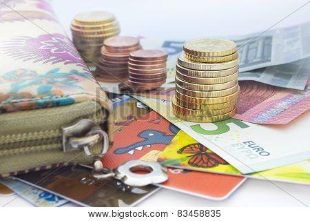 Euro Coins, Euro Banknotes And Wallet