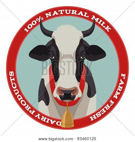 Cow label, red style