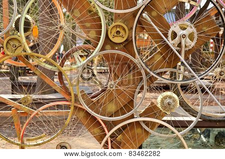Bicycle Wheels Pattern Decorate To Background