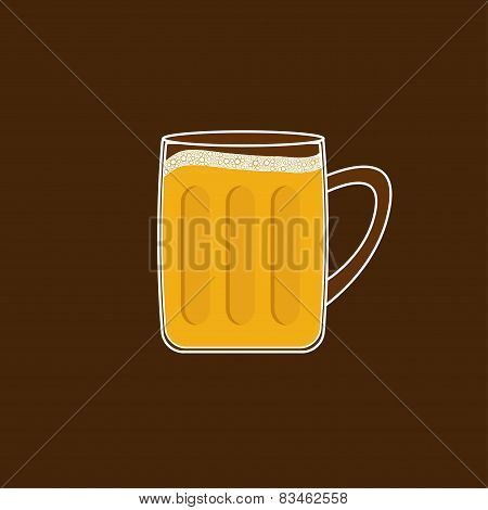 Beer Glass Mug With Foam Cap Froth Bubble. Flat Design