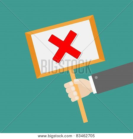 Businessman Hand Holding Paper Blank Sign Plate With Red Cross Mark Flat Design