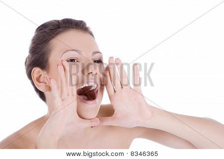 Bright Picture Of Lovely Woman Whispering Gossip News