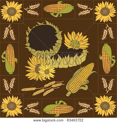 Sunflower and corn vector set