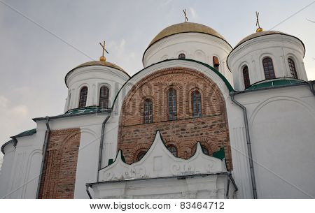 Central Part Of Transfiguration Cathedral With Ancient Bricks And Domes