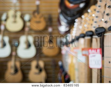 Guitar shop blurred background