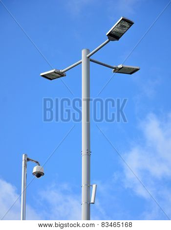 Street Lamp And Cctv With Big Blue Sky
