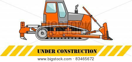 Bulldozer. Heavy Construction Machines. Vector Illustration
