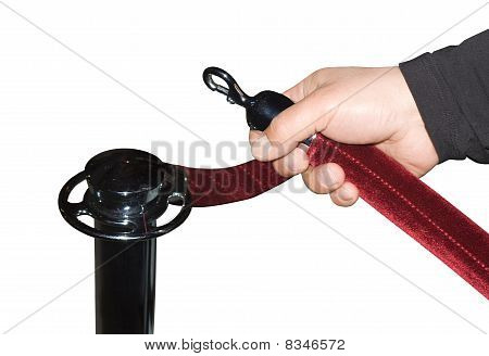 Human Hand Open Red Velvet Rope Isolated Over White