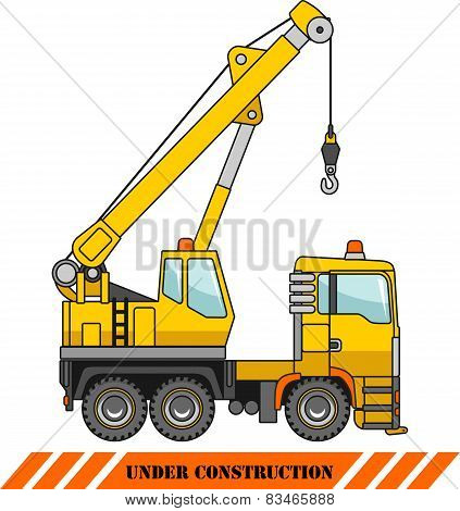 Crane. Heavy Construction Machines. Vector Illustration