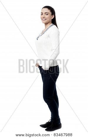 Sideways Pose Of Attractive Woman