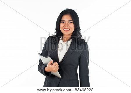 Beautiful business woman with tablet computer