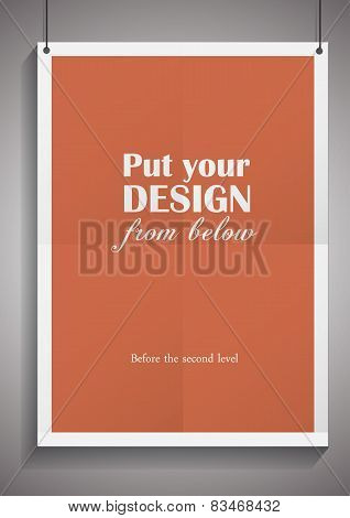 Vector template of frame with poster, placed in interior. Mockup for your posters.
