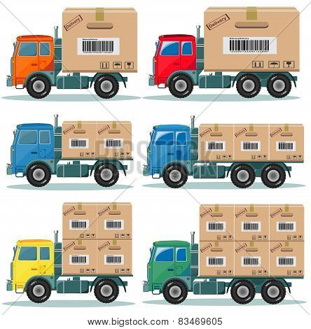 Truck for delivery vector set