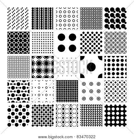 Peas, circles and polka dots pattern set