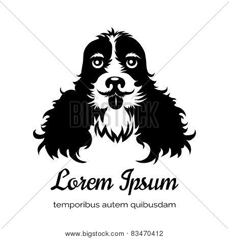 English cocker spaniel black dog logo