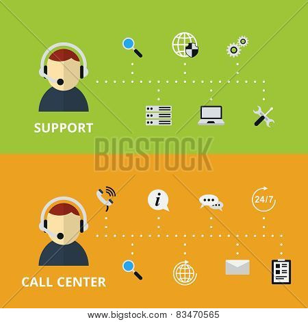Support and Call Center Concept Illustration