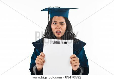 Female student unhappy with her student loan