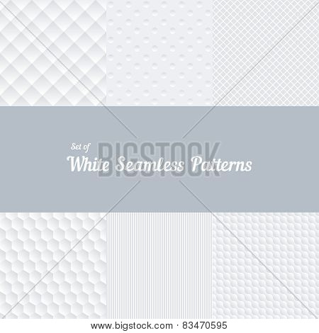 Set of white seamless patterns