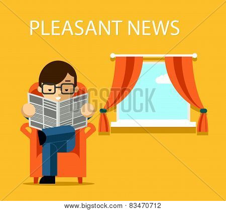 Pleasant news concept. Businessman reading newspaper with financial information near window