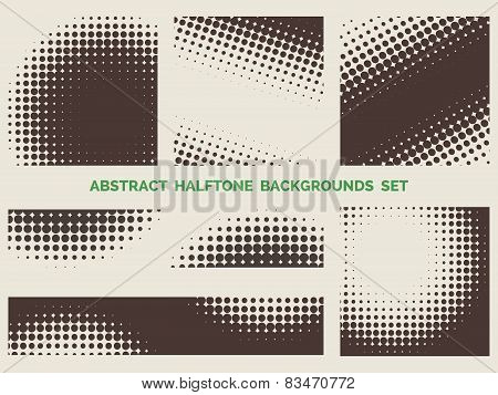 Grunge halftone patterns set