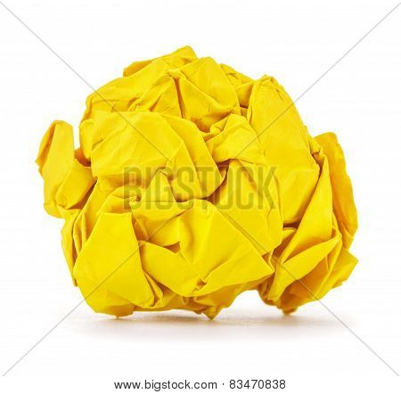 Rich Yellow Crumpled Paper Ball Rolled On A White Background