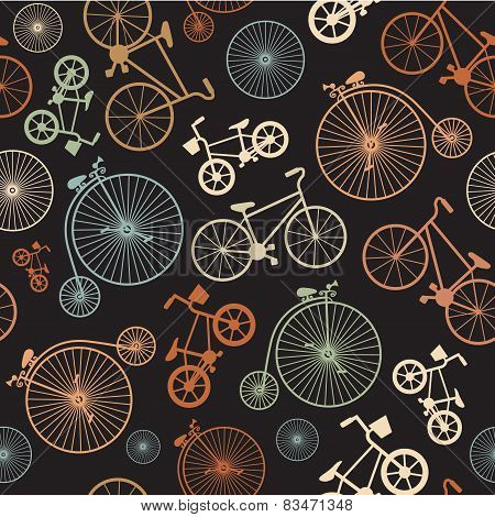 Vector seamless colorful retro vintage bicycle hipster background