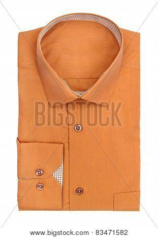 Men's Ocher Shirt On A White Background