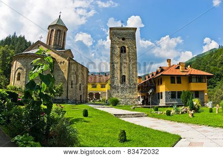 Church yard inside 13th century Ra?a monastery walls