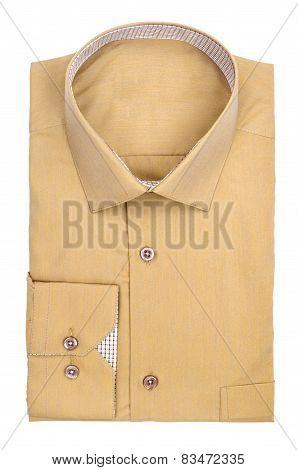 Men's Light Ocher Shirt On A White Background
