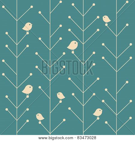 vector creative vintage seamless branch trees background with birds