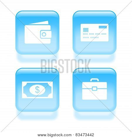 Glassy Money Icons. Vector Illustration