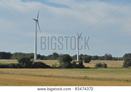 Windmill On The Field. Production Of Energy From Wind. Renewable Resources. New Technologies And Des