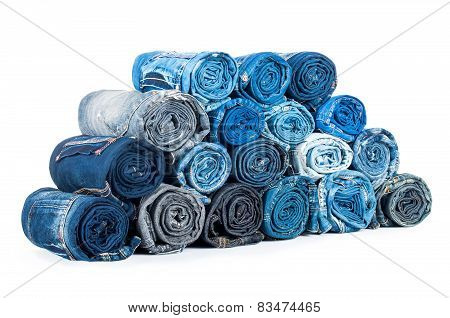 Rolled Jeanses Isolated On A White Background