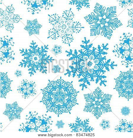 Vector winter snowflakes blue christmas seamless pattern. Winter background.