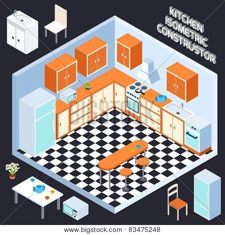 Isometric Kitchen Interior