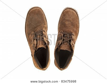 Suede Shoes On A White Background