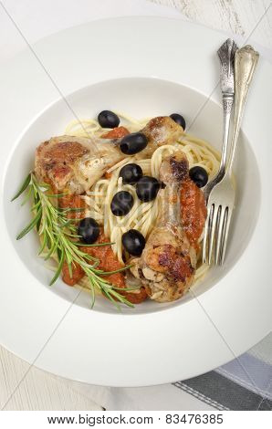 Mediterranean Chicken Drumsticks On Spaghetti